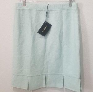 St John Aqua Mist Knit Pleated Skirt Sz 12 NWT